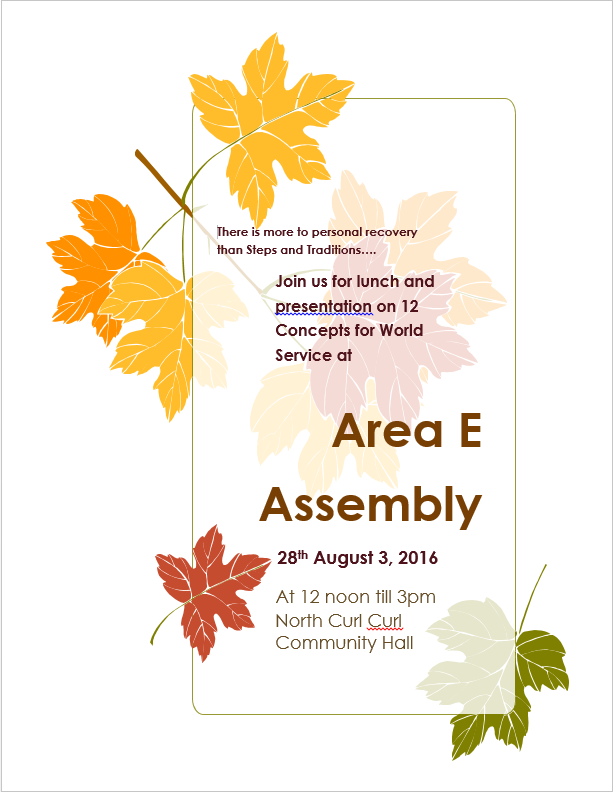 Area E Assembly August 2016